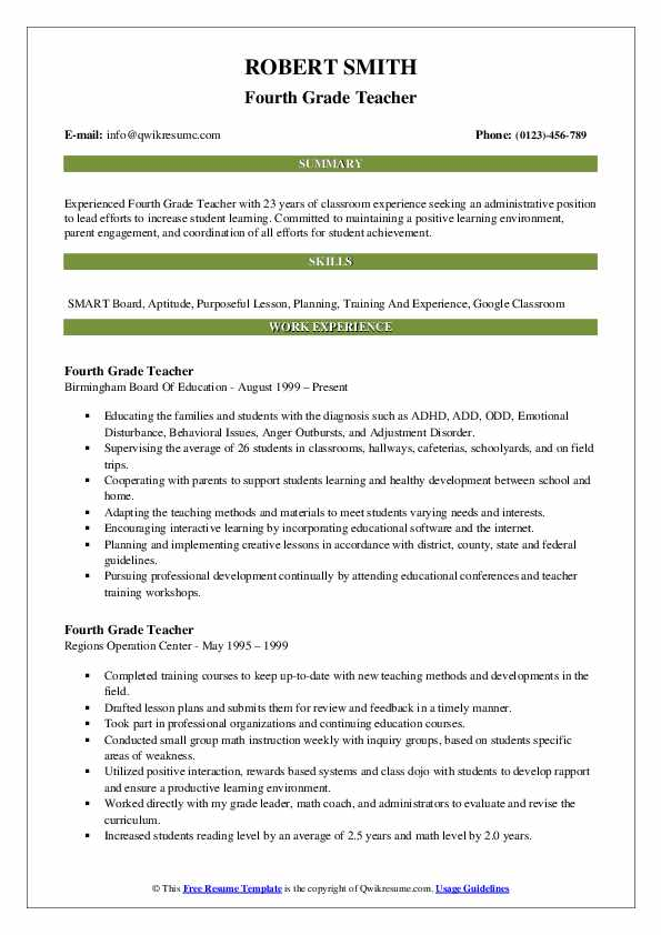 Fourth Grade Teacher Resume Format
