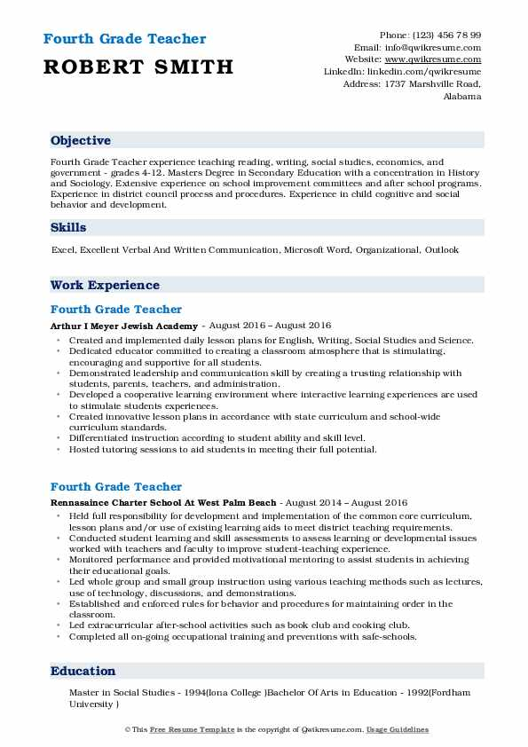 Fourth Grade Teacher Resume Sample