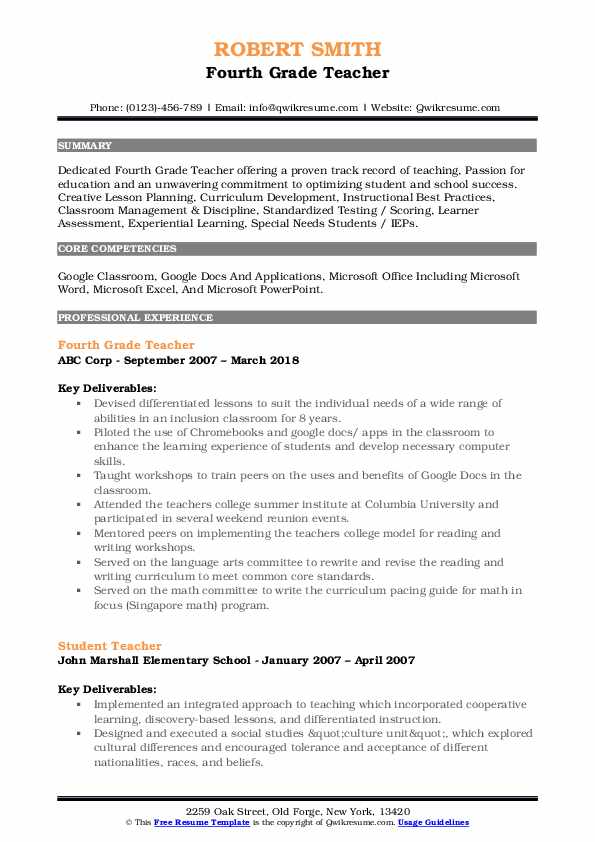 Fourth Grade Teacher Resume Model
