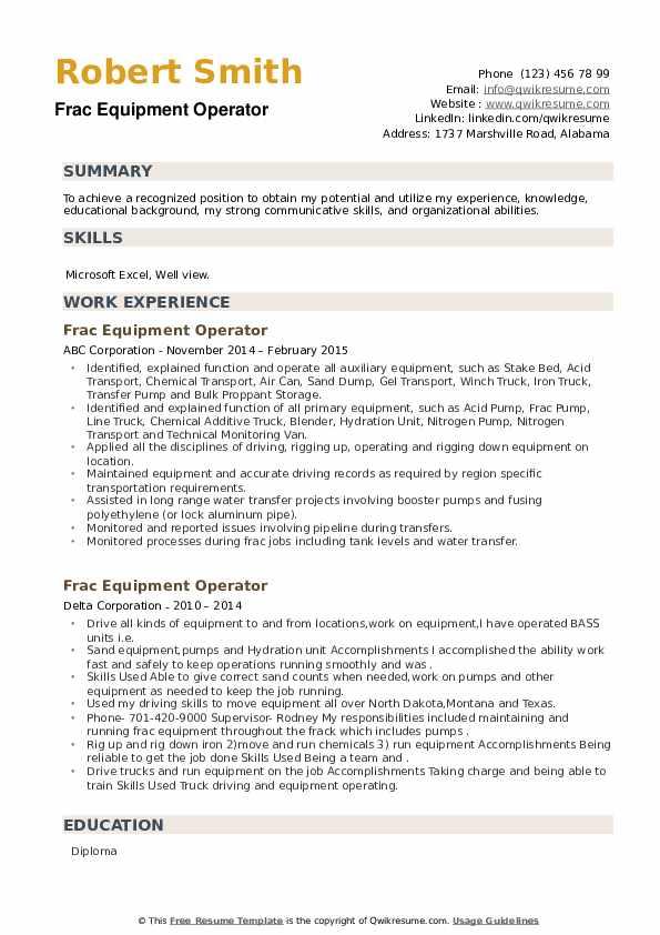 Frac Equipment Operator Resume example