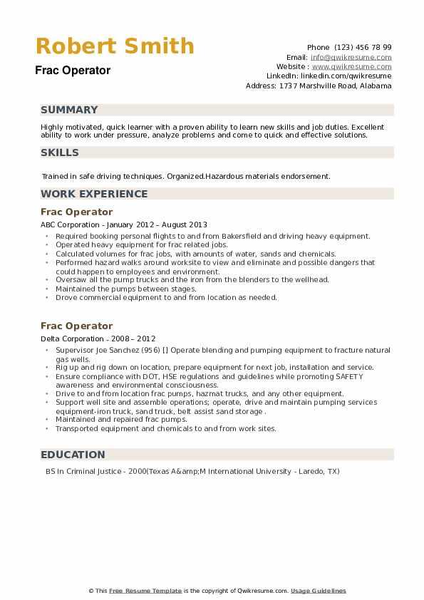 Frac Operator Resume example