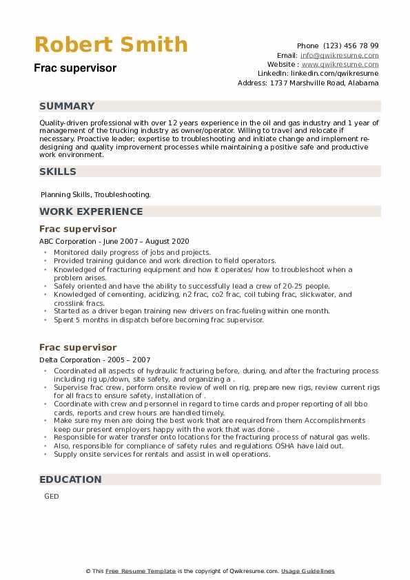Frac supervisor Resume example