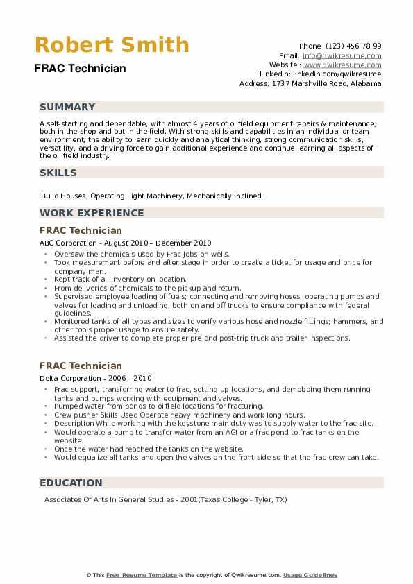 FRAC Technician Resume example