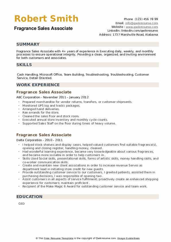 Fragrance Sales Associate Resume example