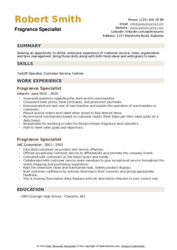 Fragrance Specialist Resume Samples Qwikresume