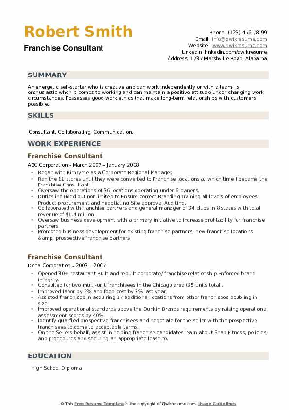 Franchise Consultant Resume example