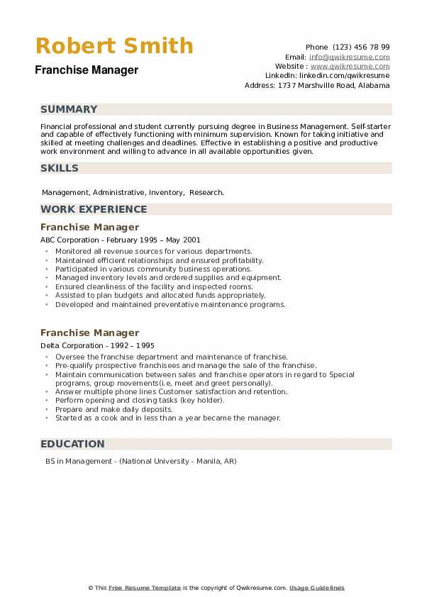 Franchise Manager Resume example