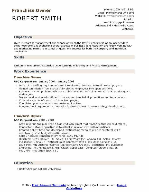 Franchise Owner Resume example