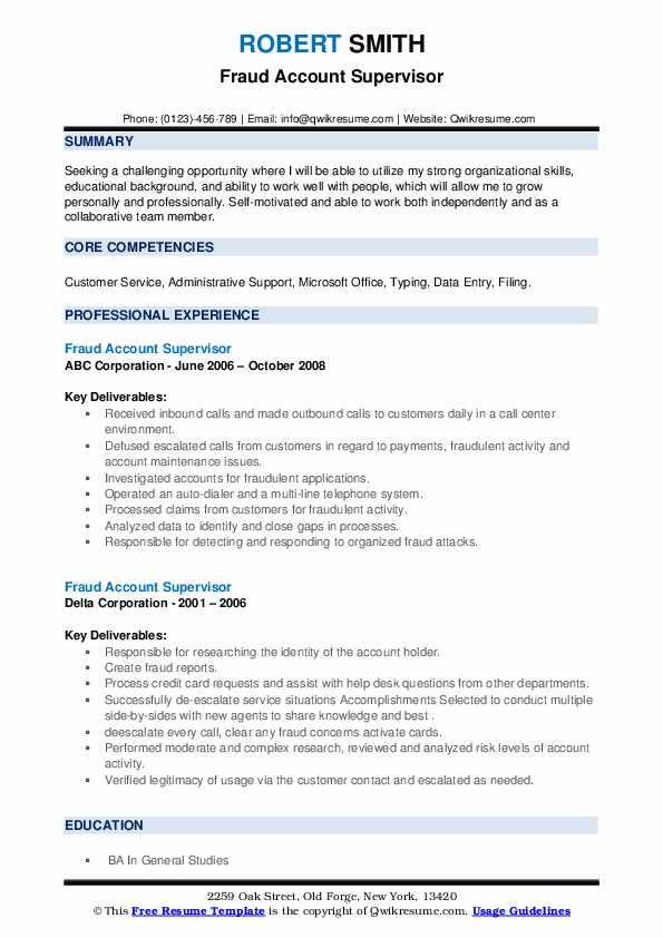 Fraud Account Supervisor Resume example