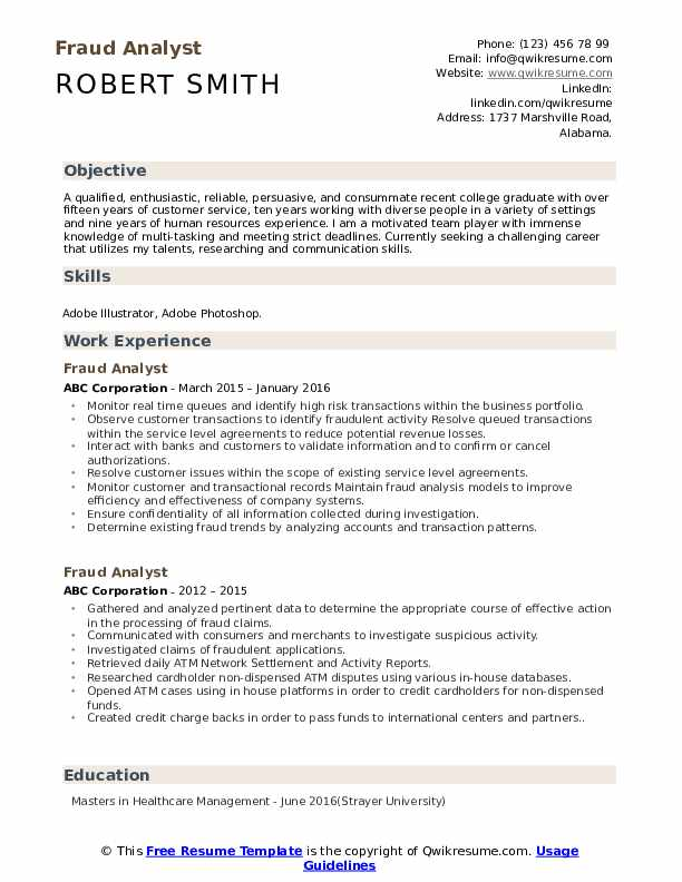 Fraud Analyst Resume Model