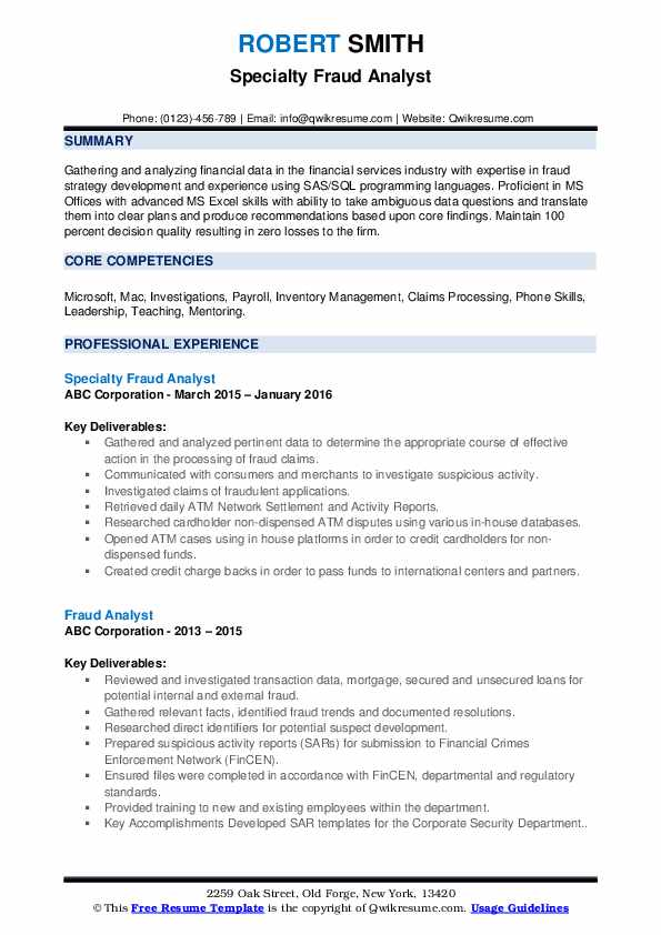 Specialty Fraud Analyst Resume Example
