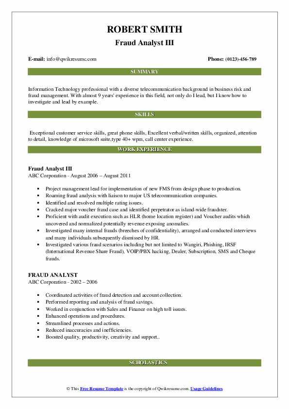 Fraud Analyst III Resume Template