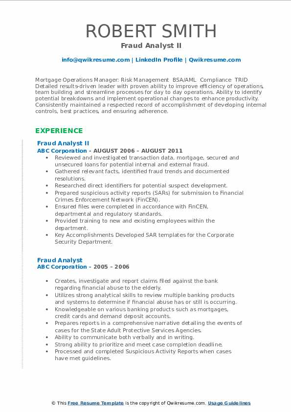 Fraud Analyst II Resume Example