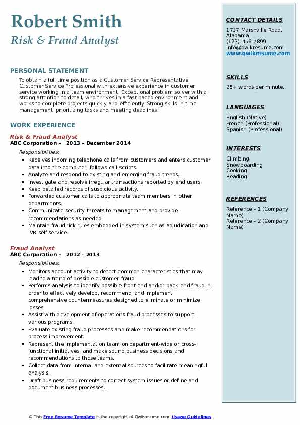 Risk & Fraud Analyst Resume Format