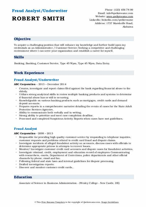 Fraud Analyst/Underwriter Resume Sample