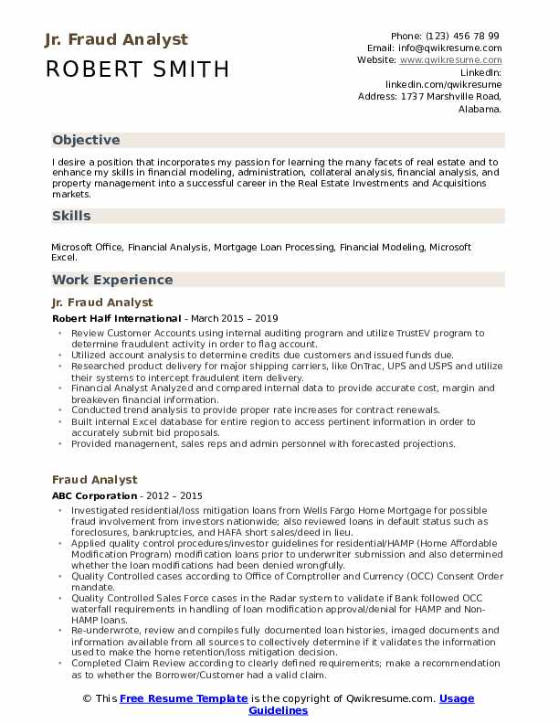 Jr. Fraud Analyst Resume Format