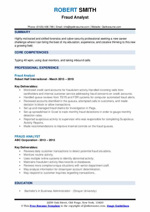 Fraud Analyst Resume Format