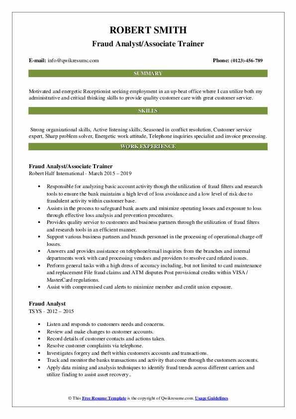 Fraud Analyst/Associate Trainer Resume Example