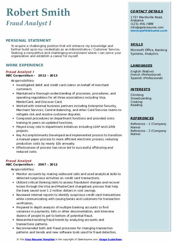 Fraud Analyst I Resume Template