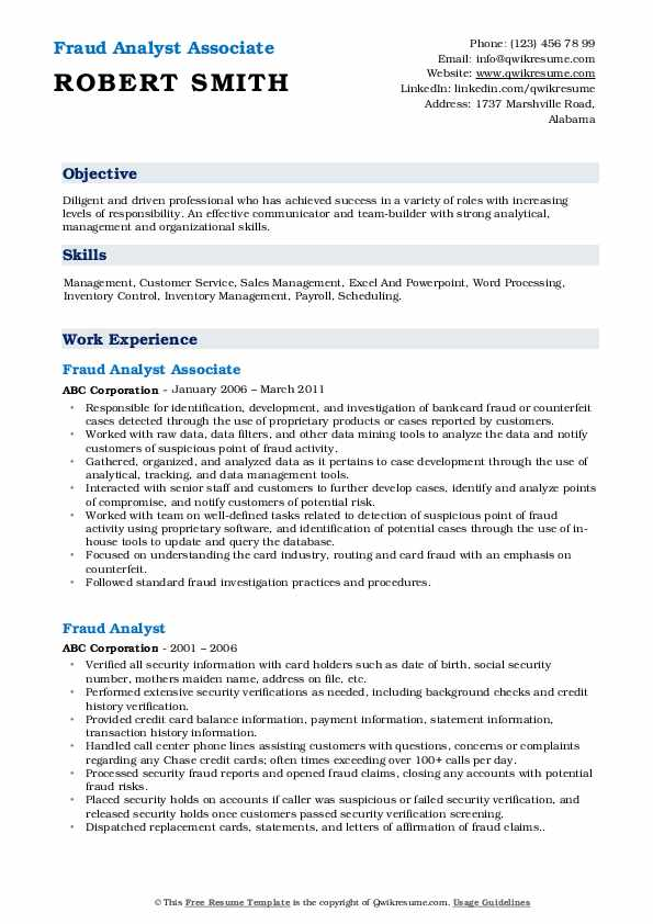 Fraud Analyst Associate Resume Model