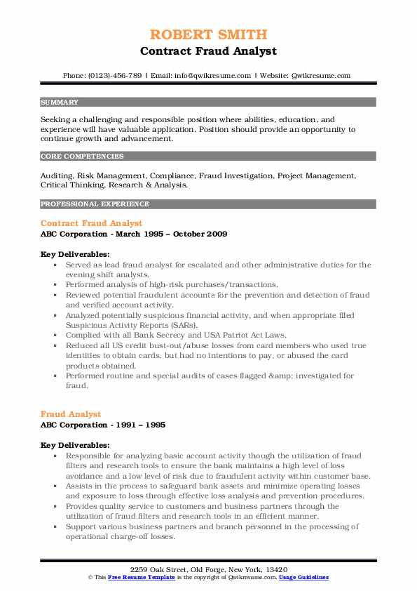 fraud analyst resume samples