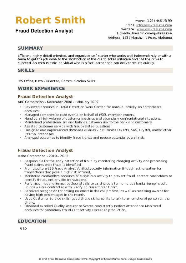 Fraud Detection Analyst Resume example