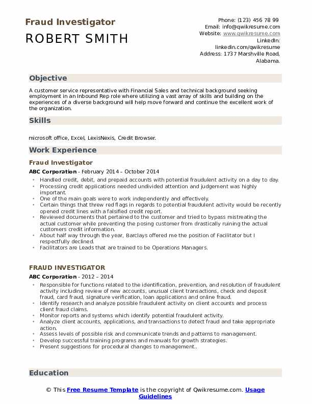 Fraud Investigator Resume Model