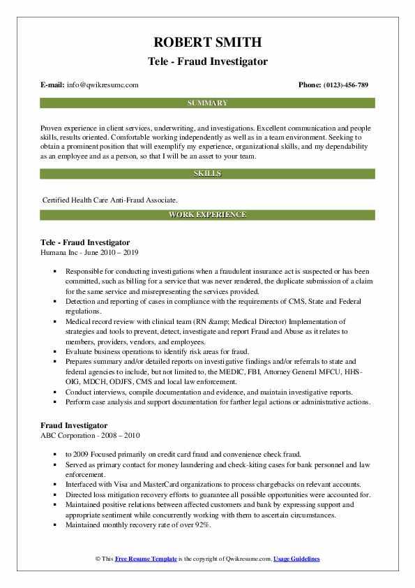 Fraud Investigator Resume Samples | QwikResume