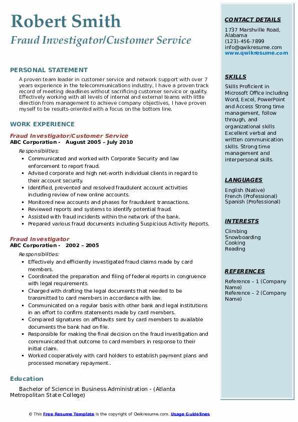 Fraud Investigator/Customer Service Resume Model