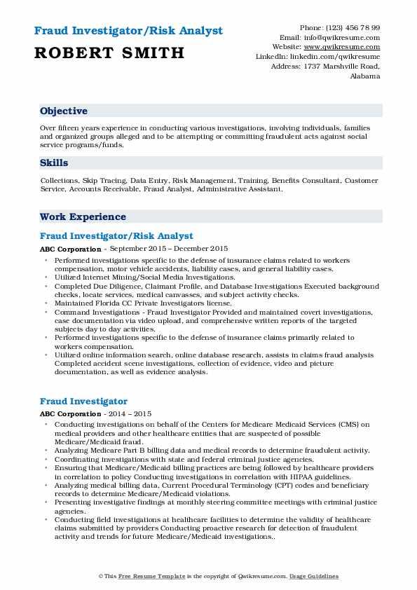 Fraud Investigator/Risk Analyst Resume Format
