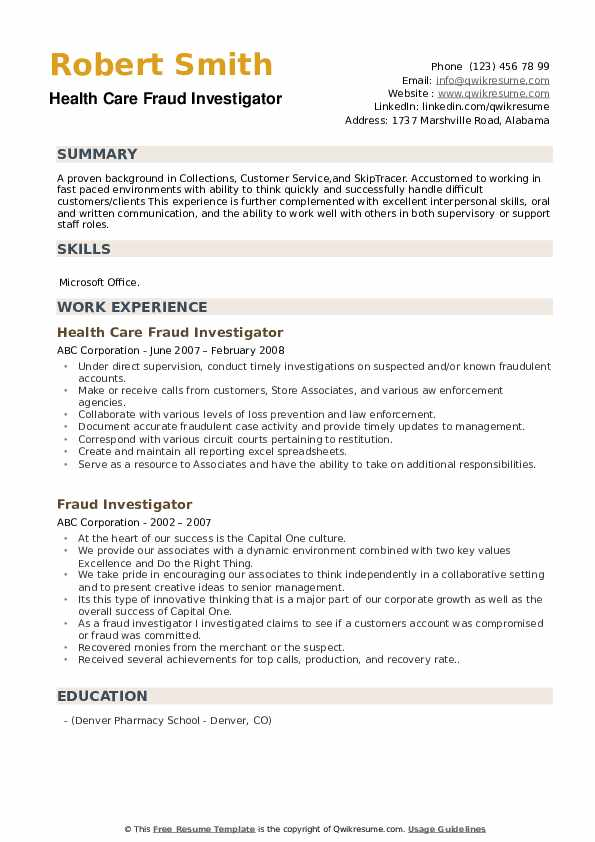 Fraud Investigator Resume Samples | QwikResume