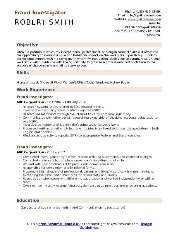 Fraud Investigator Resume example