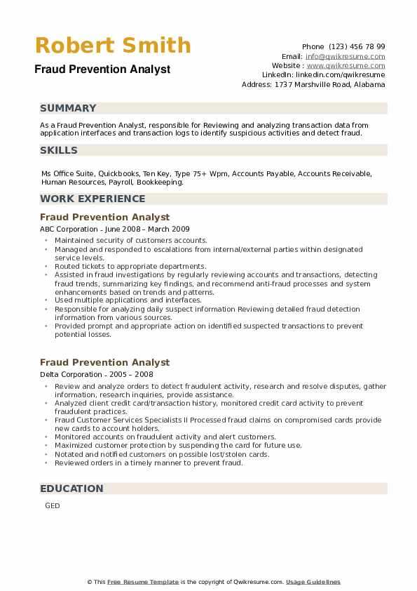 Fraud Prevention Analyst Resume example