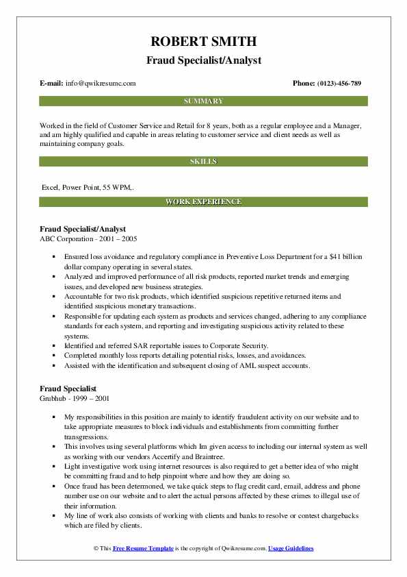 Fraud Specialist/Analyst Resume Example