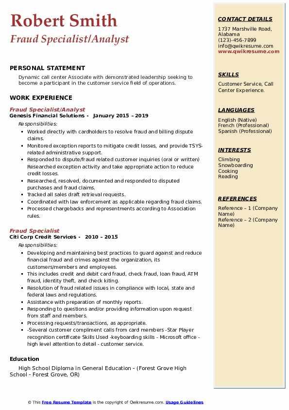 Fraud Specialist/Analyst Resume Sample