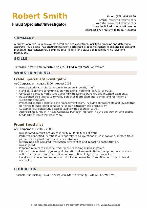 Fraud Specialist/Investigator Resume Format
