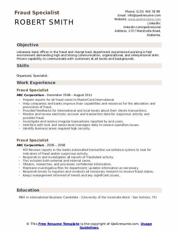 Fraud Specialist Resume example