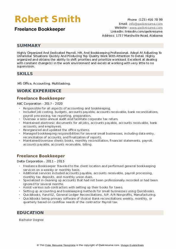 Freelance Bookkeeper Resume example