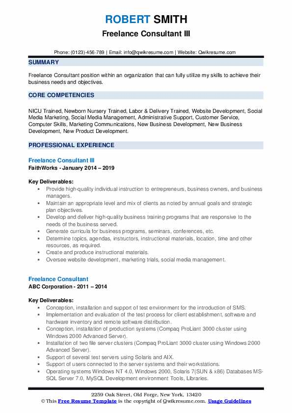 Freelance Consultant III Resume Model