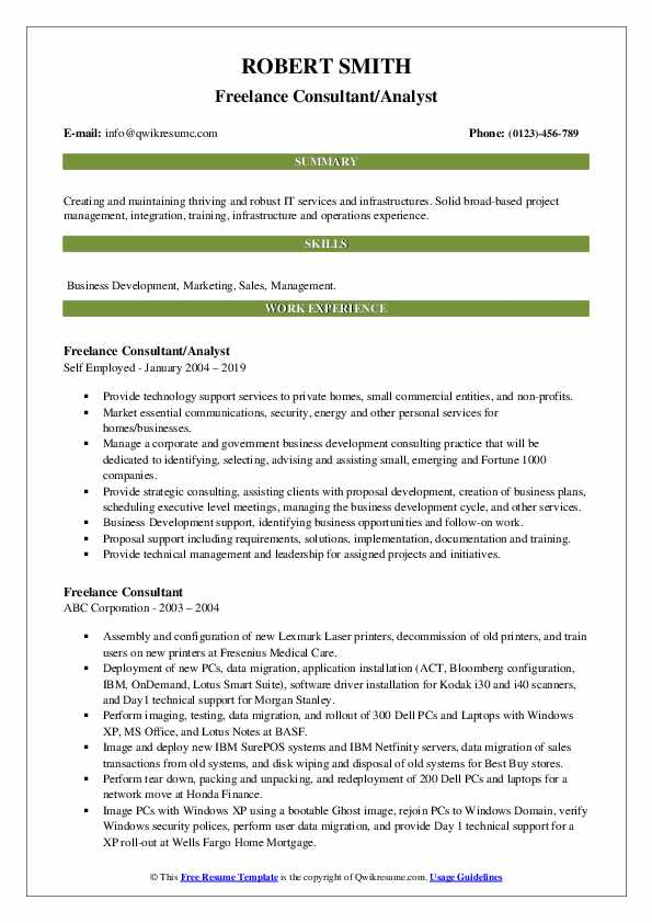 Freelance Consultant/Analyst Resume Template