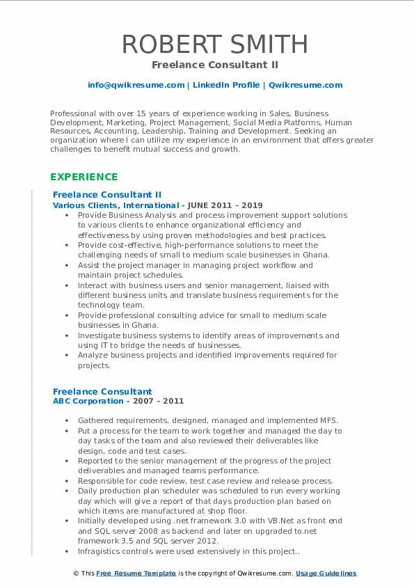 Freelance Consultant II Resume Format