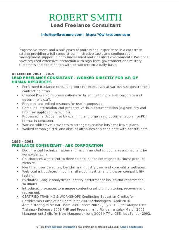 Lead Freelance Consultant Resume Model