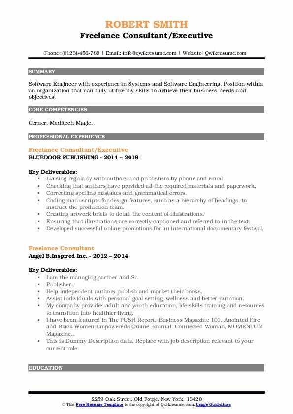 Freelance Consultant/Executive Resume Format