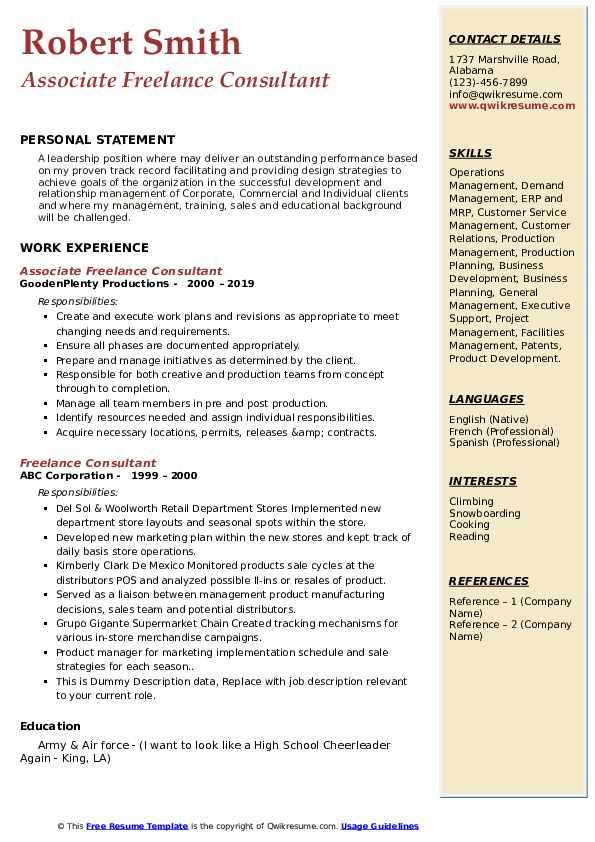 Associate Freelance Consultant Resume Template