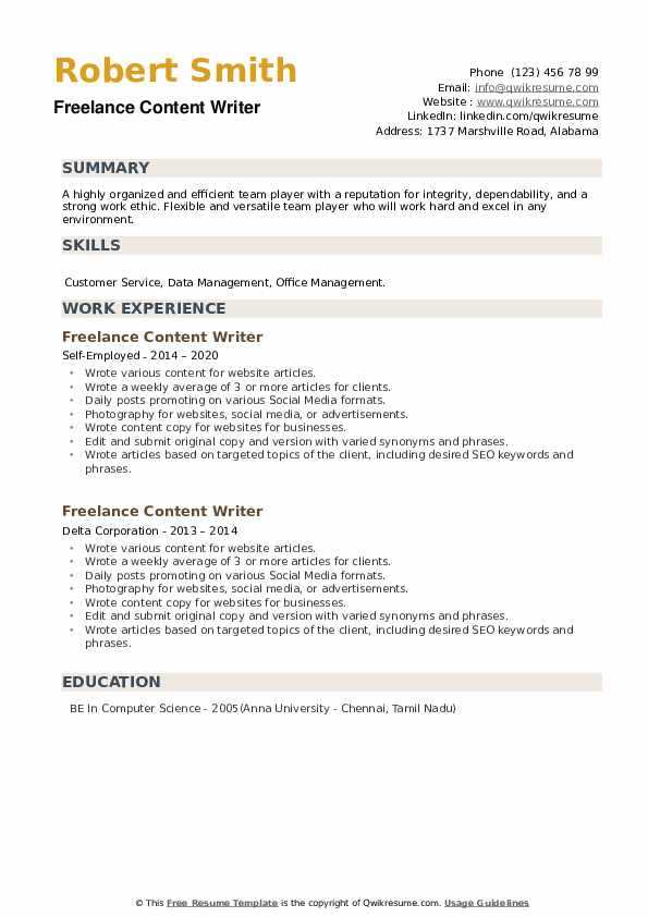 Freelance Content Writer Resume example
