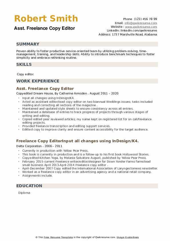 Freelance Copy Editor Resume example