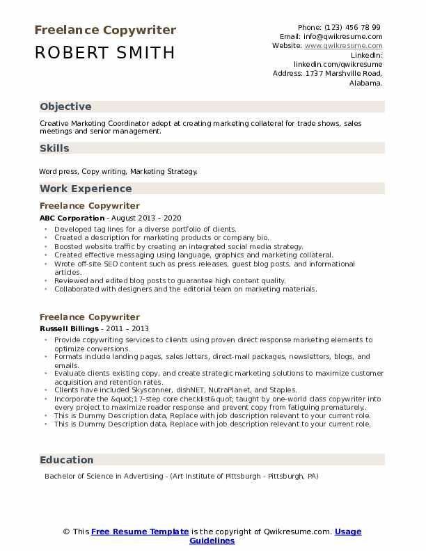 Freelance Copywriter Resume example