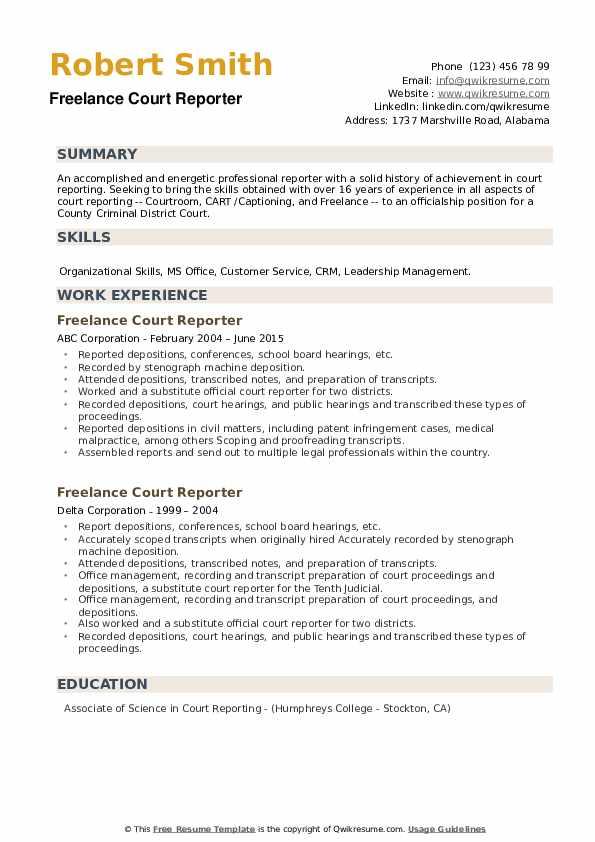 Freelance Court Reporter Resume example