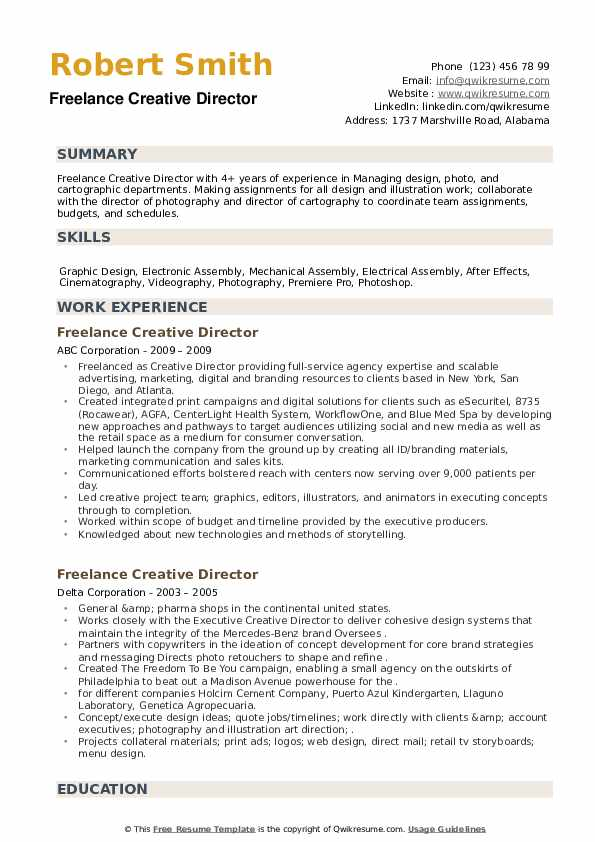 Freelance Creative Director Resume example