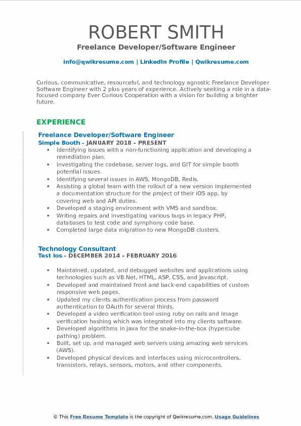 Freelance Developer/Software Engineer Resume Example